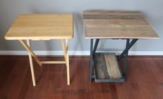 TV tray makeover, side table with pallet wood top before and after