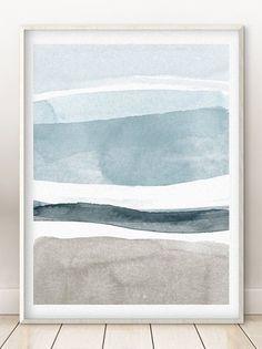 Watercolor Art Landscape, Watercolor Water, Abstract Watercolor Art, Landscape Prints, Simple Watercolor, Scandinavian Artwork, Water Abstract, Beach Wall Art, Modern Wall Art