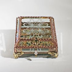 Victorian Snowflake Glass Jewelry Box -  Faberge Style by FabergeStyleBoxes on Etsy