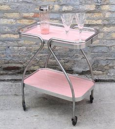 VINTAGE Pink Bar Cart Kitchen Storage Wow your guests with this pink bar cart at your next pa&; VINTAGE Pink Bar Cart Kitchen Storage Wow your guests with this pink bar cart at your next pa&; Retro Furniture, Dining Furniture, Pink Furniture, Antique Furniture, Furniture Design, Plywood Furniture, Rustic Furniture, Chair Design, Furniture Decor