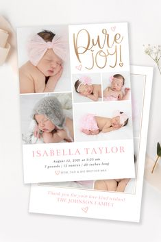 Announce the arrival of your new baby to family and friends with this timeless birth announcement! This customizable newborn card is the perfect way to share your new baby's photos with your friends and family so they can delight in your precious new addition! Edit in your web browswer with Corjl! #birthcard #newborncard #babyannouncement #newborntemplate #photocard #photoshop Newborn Birth Announcements, Birth Announcement Template, Birth Announcement Photos, Heart Designs, New Baby Products, Pure Products, Pure Joy, Baby Birth, Photo Cards