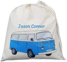 Personalised VW Bay Camper Van Large Drawstring Bag - Blue