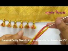 How to make Baby Kuchu Design using 2 colours Sewing Hacks, Sewing Tutorials, Sewing Projects, Sewing Patterns, Saree Tassels Designs, Saree Kuchu Designs, Hand Embroidery Designs, Beaded Embroidery, Embroidery Stitches
