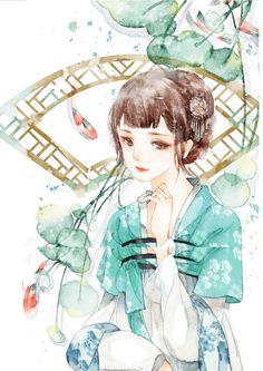 #插画# #古风#@灬铃兰灬采集到手绘古风★丽人行(549图)_花瓣插画/漫画
