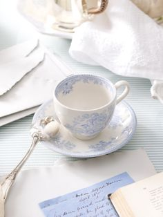 source: Ralph Lauren  ~ beautiful blue and white Charlotte cup-and-saucer