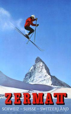 Zermatt, Switzerland Travel Poster by Alfred Perren-Barberini Ski Vintage, Vintage Ski Posters, Retro Poster, Poster S, Zermatt, Swiss Travel, Swiss Ski, Zine, Ski Jumping
