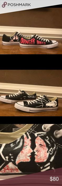 My Chemical Romance converse These are hand painted converse for the MCR fans. I had them custom made for my daughter but she was on to a new phase by the time they arrived. Brand new in the box. Men's 9. Women's 11. Shoes Sneakers
