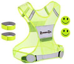 Reflective Vest for Running with Pocket - for Jogging, Cycling Safety. BONUSES - Reflector Arm Bands & High Vis Stickers - Fully Adjustable - Hi Vis Gear for Men, Women S-M-L -- Visit the image link more details.