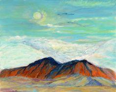 From my room , The Moon rising oil painting 16'' x 20'' Lever de lune,  vue de ma chambre peinture à l' huile  40 cm x 50 cm