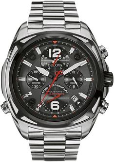 Bulova men's precisionist stainless steel chronograph watch - 98b227