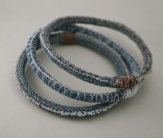 Three denim bracelets - upcycled scrap fabric bracelet - repurposed jeans - bangles - made to order in your size and thread colors 3 three upcycled denim bracelets - repurposed jean bangles - made to order in your size and thread colors Bracelet Denim, Fabric Bracelets, Fabric Jewelry, Embroidery Bracelets, Pearl Bracelets, Thread Bracelets, Wrap Bracelets, Pandora Bracelets, Embroidery Thread