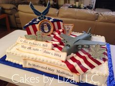 Specializing In Custom Cakes Virginia Beach, Wedding Cakes Military Send Off Party Ideas, Military Retirement Parties, Retirement Party Decorations, Retirement Cakes, Retirement Ideas, Cupcake Decorations, Patriotic Decorations, Fourth Of July Cakes, 4th Of July Celebration