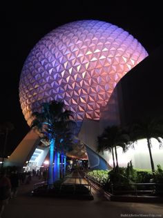 Epcot's Spaceship Earth at night.  Disney World.