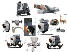 Constructor Bot Sketches #ConceptArt from #Borderlands2 by #KevinDuc