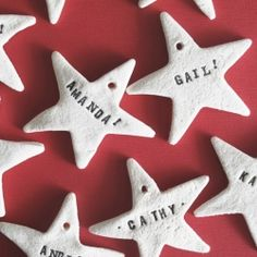 Christmas crafts homemade ornaments: Salt dough star ornaments with students' names. I'd look for lowercase letter stamps though. Homemade Christmas Decorations, Homemade Ornaments, Holiday Crafts, Christmas Crafts, Diy Ornaments, Xmas, Christmas Ideas, Christmas Garlands, Personalized Ornaments