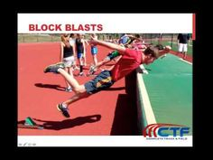 Latif Thomas introduces 'block blasts,' a training drill used to teach athletes how to execute pushing off of both feet during block starts while reinforcing. Agility Training, Speed Training, Training Workouts, Training Videos, Running Drills, Running Club, Track Workouts For Sprinters, Sprinter Workout, Track Drill