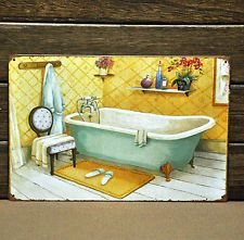 """WARM BATH"" Metal POSTER Vintage Tin Sign HOME Bathroom Old Time Wall ART Decor"