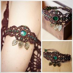 « New work: armlet with cat-eye stone and glass beads #macrame…