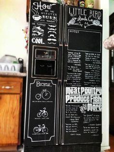 Kühlschrank aufpeppen Tafelfarbe Einkaufsliste schwarz weiße Kreide