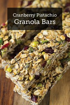 This easy granola bar recipe is a delicious snack. Make some Cranberry Pistachio Granola Bars for your family – they'll love this tasty snack!