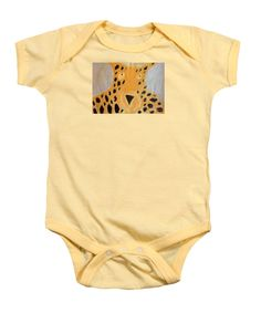 Patrick Francis Soft Yellow Designer Baby Onesie featuring the painting Cheetah 2014 by Patrick Francis