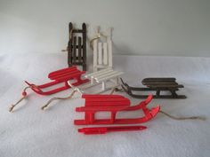 Miniature Sleighs Vintage Wooden Christmas Winter by HobbitHouse