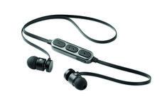 Auriculares Bluetooth 4.2 con micrófono y cierre magnético en los laterales. Batería recargable de Li-ION 55 mAh.