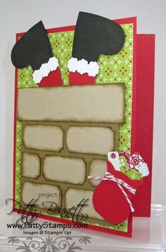 santa in chimney card with punches - I can do this! punches are: ticket (bricks) heart (feet) bitty blossom (snow) bag (owl builder)