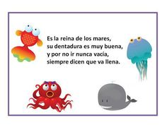 'I'm the queen of the sea, my teeth are very good, I never go empty, they say… High School Spanish, Spanish Classroom, Speech And Language, Speech Therapy, Teaching Resources, Activities For Kids, Homeschool, How To Plan, Education