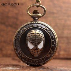 New Unique Spider Design Bronze Pocket Watch with FOB Necklack Chain Super Hero Spider-Man Fans Quartz Pocket Watch Mens Gifts