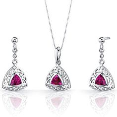 Created Ruby Pendant Earrings Necklace Sterling Silver Rhodium Nickel Finish Filigree Trillion Shape -- Want to know more, click on the image.(This is an Amazon affiliate link and I receive a commission for the sales)