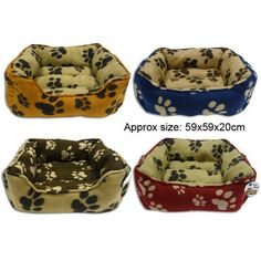 Fleece Paw print Large Dog Bed made from a polyester fleece
