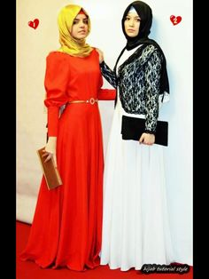 Two Gorgeous Muslim Women in Hijabs and Evening Gowns!