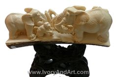 Amazing Legal Mammoth Ivory tusk of Two elephants playing with a monkey
