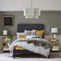 Modern bedroom greys black white yellow