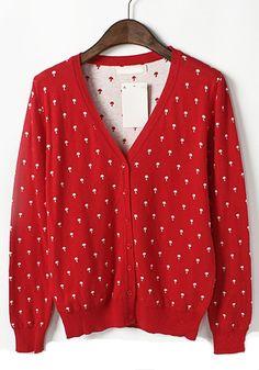 Red Cartoon Print V-neck Long Sleeve Blend Cardigan