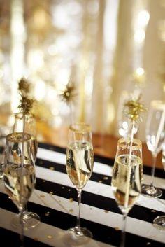 Champagne! Gold! Black and white stripes!