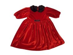 Little red velvet dress for baby girls
