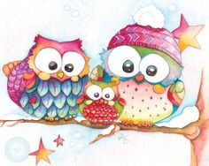 Items similar to Cute Owl Art for Winter / Winter Watercolor Owl Print / Baby Owl Painting / Owl Christmas Painting / Winter Art Print / Owl Christmas Gift on Etsy Family Painting, Baby Painting, Owl Artwork, Owl Watercolor, Owl Family, Happy Family, Christmas Owls, Christmas Gifts, Christmas Images