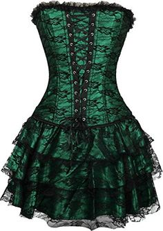 Women's Overbust Gothic Bustier Dress Corset Top with Skirt - http://steampunkvapemod.com/product/womens-overbust-gothic-bustier-dress-corset-top-with-skirt/