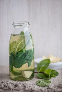 Food: Freah Mint and Ginger Tea by Ina Peters #stocksy #realstock