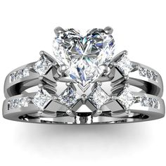 Design Wedding Rings Engagement Rings Gallery: Three Stone Diamond Engagement Ring - Heart Shaped Diamond Engagement and Wedding Ring Sets Heart Shaped Engagement Rings, Heart Wedding Rings, Cool Wedding Rings, Wedding Rings Solitaire, Beautiful Wedding Rings, Wedding Ring Designs, Engagement Wedding Ring Sets, Wedding Rings For Women, Heart Rings