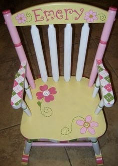 Painted kids chair- easy to do even if you aren't artistic. Buy a used kids chair and paint it white to prime it or buy a paint free kids chair. Then buy or print off some stencils and use blue tape to tape them down so they don't move while you are painting inside them. You can buy small cans of paint at your local hardware store. (Don't forget about the paint you might have left over somewhere that might work) Have fun! This is a link to a free stencil site…