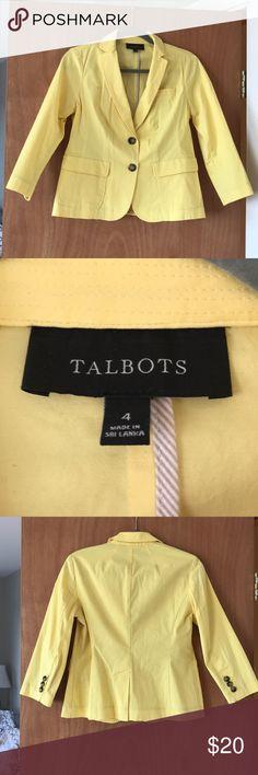 Talbots yellow spring blazer Crisp spring/summer blazer.  Perfect for cool mornings over work shift dresses. Talbots Jackets & Coats Blazers