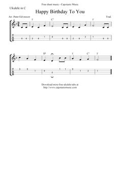 Happy Birthday To You, free ukulele tab sheet music