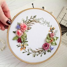 Wonderful Ribbon Embroidery Flowers by Hand Ideas. Enchanting Ribbon Embroidery Flowers by Hand Ideas. Ribbon Embroidery Tutorial, Flower Embroidery Designs, Silk Ribbon Embroidery, Embroidery Hoop Art, Embroidery Patterns, Embroidery Stitches, Embroidery Supplies, Embroidery Tattoo, Embroidery Saree