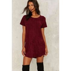 Nasty Gal This is the Girl Vegan Suede Tee Dress ($68) ❤ liked on Polyvore featuring dresses, red, tee shirt dress, faux leather dress, red shift dress, sleeved dresses and t shirt shift dress