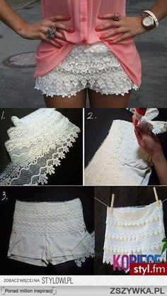 DIY – Lace Shorts out of White Soffe Shorts! Here's another version of the lacey white shorts. (Just like the UO shorts I've been tempted to buy! Diy Shorts, Sewing Shorts, Crochet Shorts, Cheer Shorts, Diy Crochet, Sewing Clothes, Clothes Crafts, Dress Sewing, Soffe Shorts