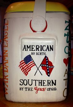 American by birth Southern by the grace of God frat painted #cooler #Merica #Auburn www.etsy.com/shop/PreppyPinkPersonal