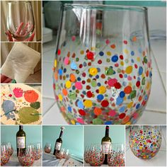 ▷ 1001 + Ideas for glass painting for inspiration and borrowing - DIY Ideen Collaborative Art Projects, Crafts For Kids, Diy Crafts, Home Room Design, Hobby Room, Painted Wine Glasses, Practical Gifts, Graduation Gifts, Homemade Gifts